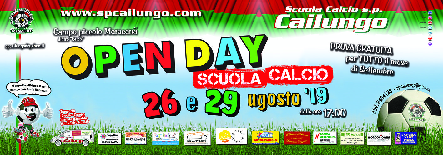 Open Day scuola calcio 26 e 29 agosto19