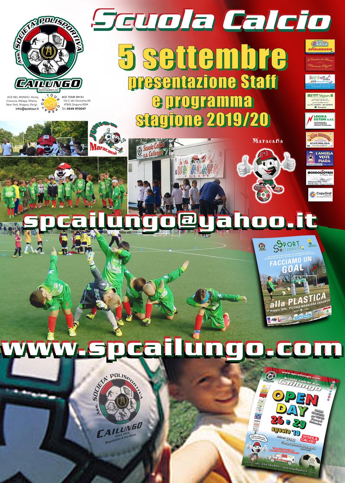 Presentazione Staff 5 Settembre 19 Scuola calcio sp Cailungo
