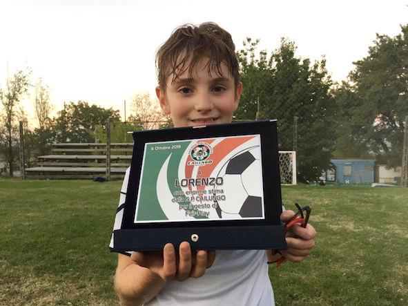 Premio fair-play sp Cailungo per Lorenzo Giordani