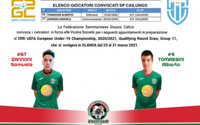 Convocazione Nazionale San Marino under 19 Tomassini e Zannoni