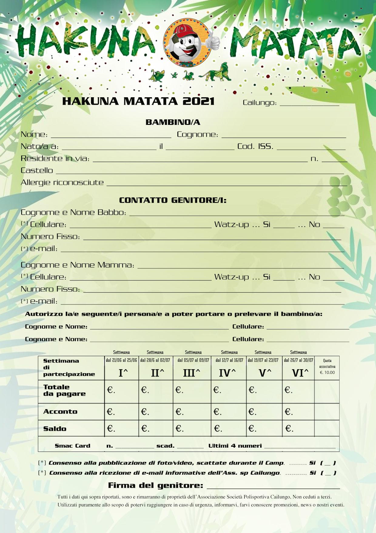 Hakuna Matata Modulo Iscrizione 2021Iscrizioni