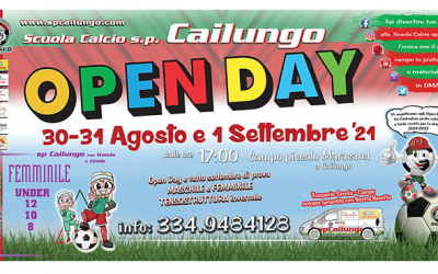 Open Day Scuola Calcio sp Cailungo - 30-31 agosto e 1 settembre 2021.Vi aspettiamo tutti con un piccolo presente a fine giornata.